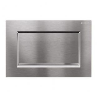 Geberit Sigma30 Brushed Chrome/Gloss Chrome Anti Vandal Single Flush Plate - 115.893.KX.1